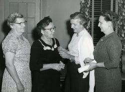 Agnes Badgley (wearing white sweater), SAGE's President 1964 - 1965